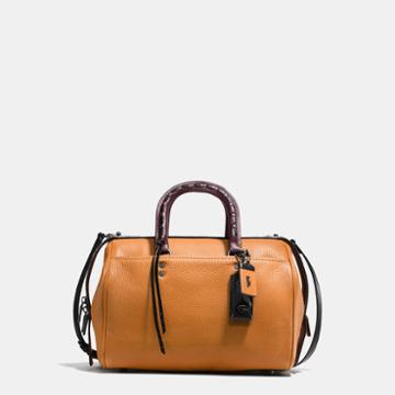 Coach Rogue Satchel In Glovetanned Pebble Leather With Colorblock Snake Detail