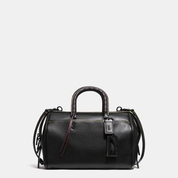 Coach Rogue Satchel With Embellished Handle In Pebble Leather