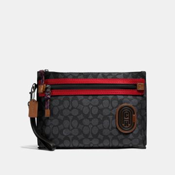 Coach Academy Pouch In Signature Canvas With Patch