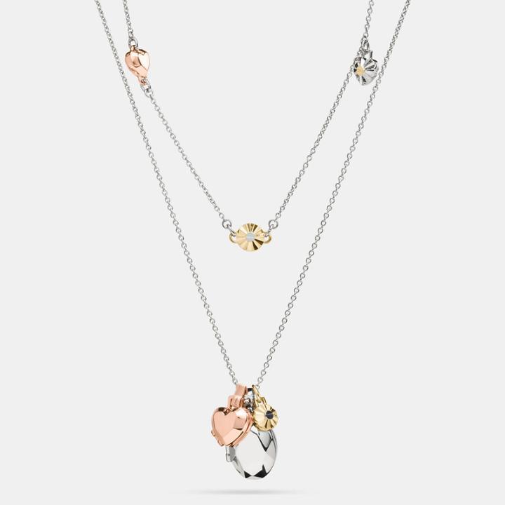 Coach Daisy Rivet Heart Locket Layered Necklace