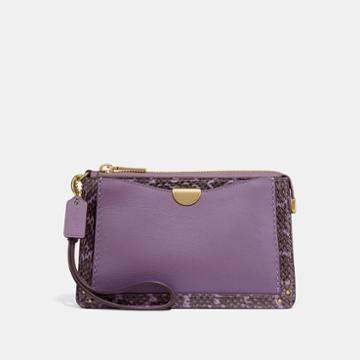 Coach Dreamer Wristlet With Snakeskin Detail