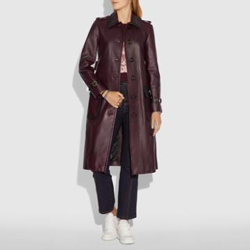 Coach Western Leather Trench Coat