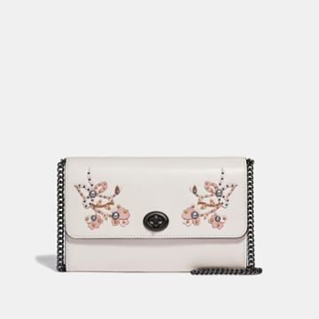 Coach Marlow Turnlock Chain Crossbody With Floral Embroidery