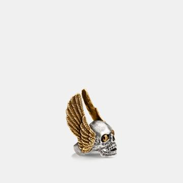 Coach Oversized Winged Skull Ring