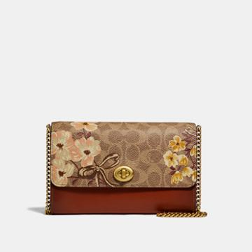 Coach Marlow Turnlock Chain Crossbody In Signature Canvas With Prairie Floral Print