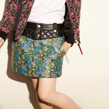 Coach 1941 Floral Curved Hem Skirt