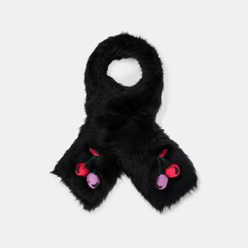 Coach Cherry Embroidered Shearling Scarf