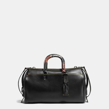 Coach Rogue Satchel 36 In Glovetanned Pebble Leather With Patchwork Snake Handle