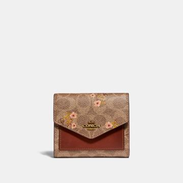 Coach Small Wallet In Signature Canvas With Floral Bow Print