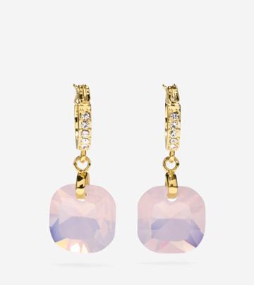Cole Haan Womens Gem Drops Square Semi-precious Stone Huggie Earrings