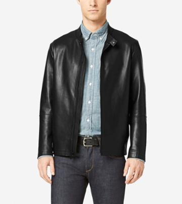 Cole Haan Men's Raw Edge Bonded Leather Moto Jacket