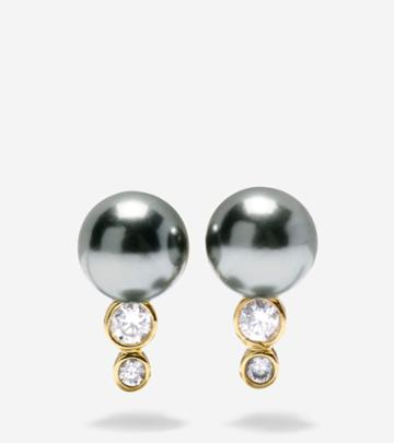 Cole Haan Women's Starry Pearl Curved Stud Earrings