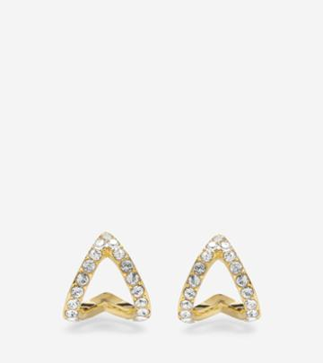 Cole Haan Womens Love Triangle Swarovski Post Earrings