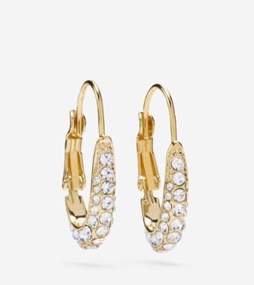 Cole Haan Womens Pave Oval Hoop Earrings