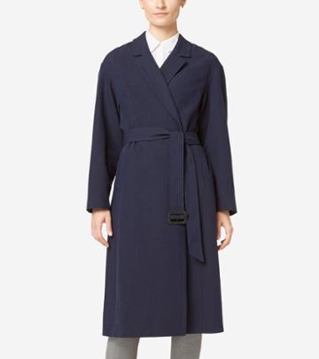 Cole Haan Women's Linen Wrap Maxi Coat