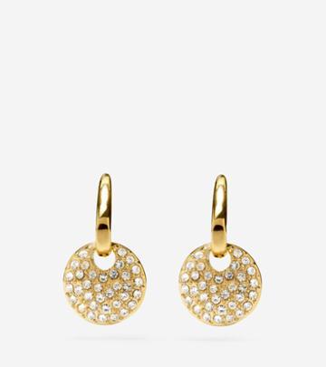 Cole Haan Womens Gem Drops Fish Hook Round Charm Earrings