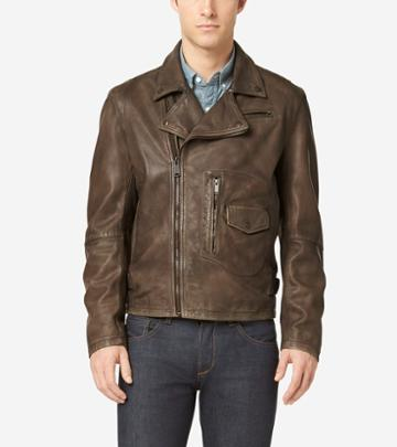 Cole Haan Men's Matte Leather Rider Jacket