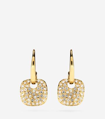Cole Haan Womens Gem Drops Crystal Circular Charm Earrings
