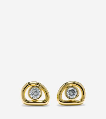 Cole Haan Organic Rings Studs With Cubic Zirconia Center Earrings