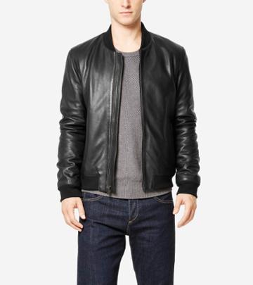 Cole Haan Men's Spanish Grainy Leather Varsity Jacket