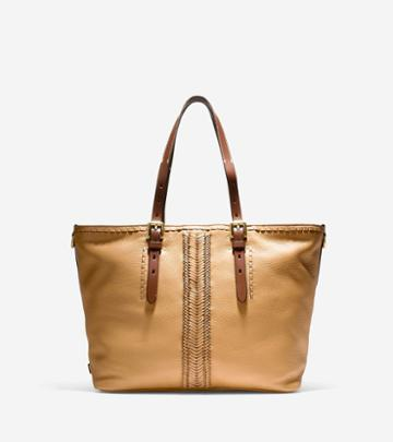 Cole Haan Loralie Whipstitched Medium Top Zip Tote