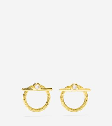 Cole Haan Womens Have A Ball Cz Front Back Open Earrings