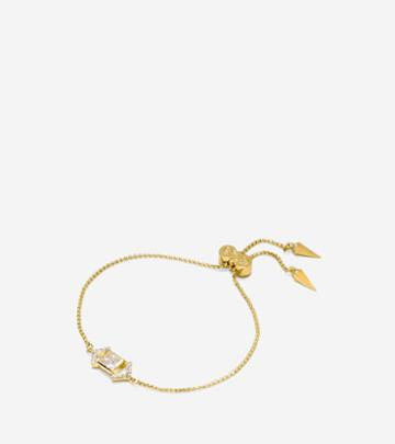 Cole Haan Womens Love Triangle Cz Triangle Chain Pull-tie Bracelet