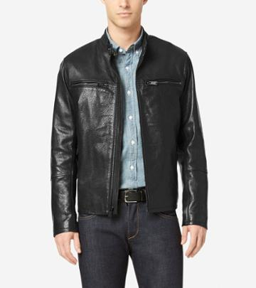 Cole Haan Men's Classic Leather Moto Jacket