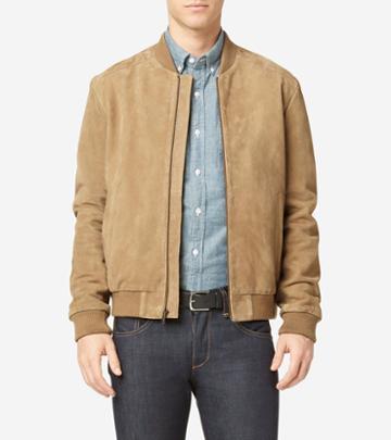 Cole Haan Men's Suede Varsity Jacket