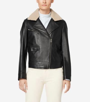 Cole Haan Women's Leather Moto Jacket With Shearling Collar
