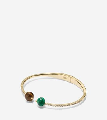 Cole Haan Womens Spring Street Fashion Semi-precious Stone Hinge Chain Bangle Bracelet