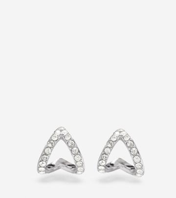 Cole Haan Womens Love Triangle Swarovski Triangle Earrings