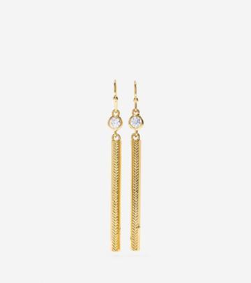 Cole Haan Womens Marine Links Cz Linear Earrings
