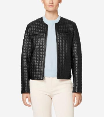 Cole Haan Women's Quilted Collarless Jacket