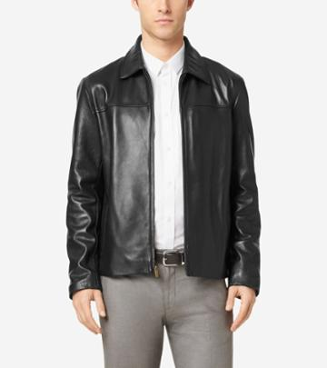 Cole Haan Men's Smooth Leather Shirt Collar Jacket