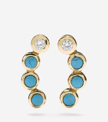 Cole Haan Womens Spring Street Fashion Semi-precious Stone Crawler Earrings