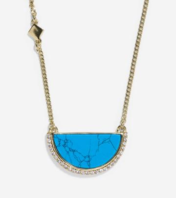 Cole Haan Womens Spring Street Fashion Semi-precious Half-moon Pendant Necklace