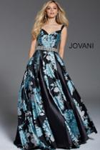 Jovani - 54520 Floral Sweetheart Pleated Evening Gown