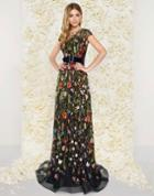 Mac Duggal Couture - 50435d Capsleeve Floral Embroidered Long Dress