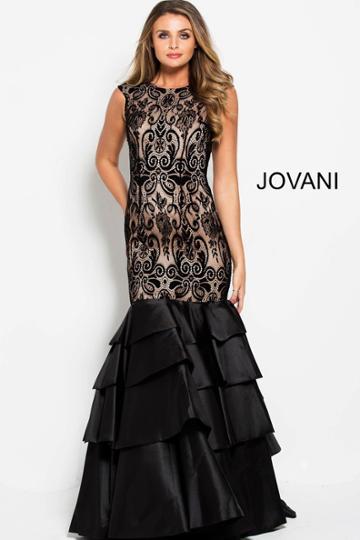 Jovani - 52086 Lace Jewel Neck Tiered Trumpet Dress