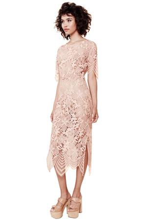 For Love And Lemons Luna Maxi Dress In Pale Blush