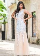 Jovani - 24551 Lace Embellished Illusion Jewel Neck Tulle Trumpet Dress