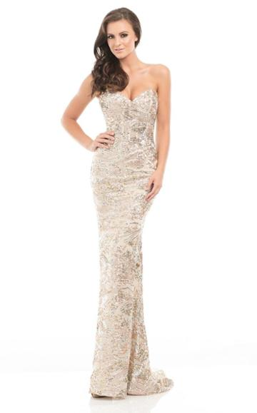 Johnathan Kayne - 7067 Sparkling Strapless Textured Long Gown