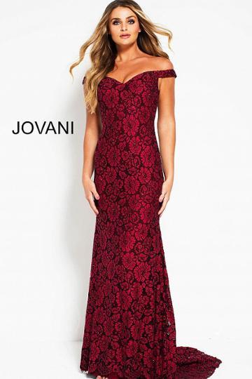 Jovani - 53208 Floral Off-shoulder Sheath Dress
