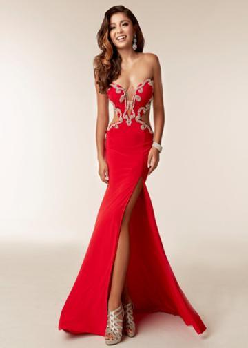 Jasz Couture - 6230 Embellished Deep Sweetheart Sheath Dress