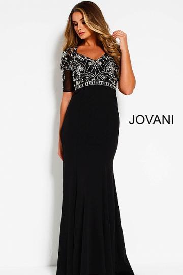 Jovani - 53134 Beaded V-neck Short Sleeve Sheath Dress