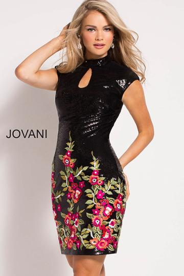 Jovani - 52285 Sequined High Neck Sheath Dress