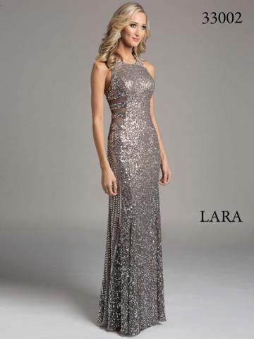 Lara Dresses - Halter Neck Sheer Panel Silver Evening Gown 33002