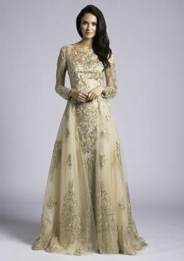Lara Dresses - 33626 Sheer Long Sleeved Gown With Open Overskirt