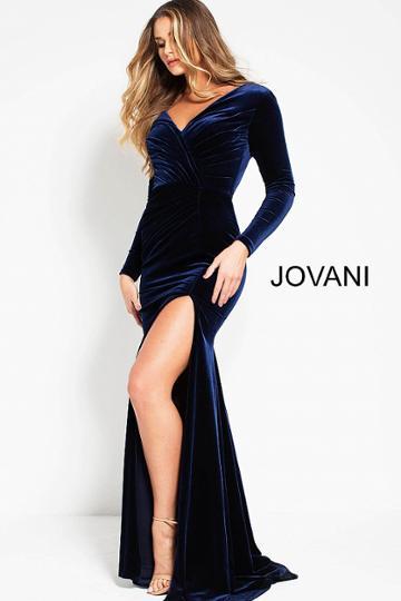 Jovani - 51110 Ruched V-neck Stretch Velvet Sheath Dress